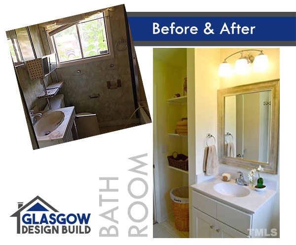 Before and after pictures of a bathroom featuring an updated vanity, painting, and shelving.
