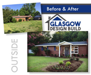 Alt: Before and after pictures of the outside of a home featuring a new roof and entrance way