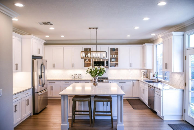 White island and cabinetry in a kitchen