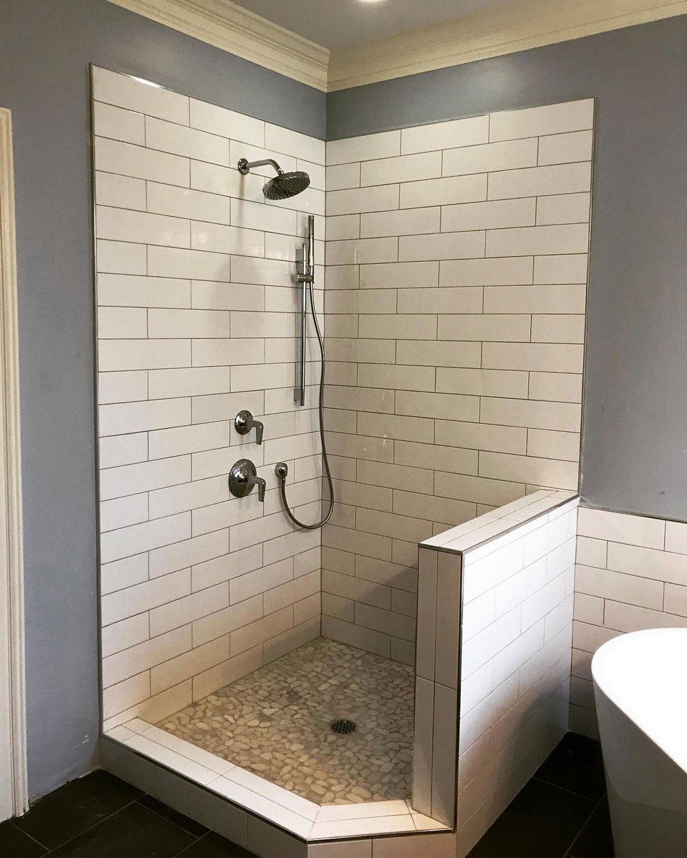 Bathroom Project - Shower with white tile